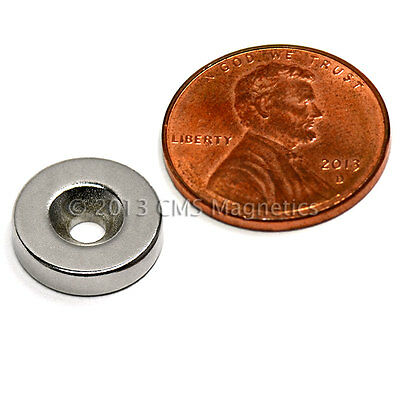 "N42 Neodymium Disc Magnet 1/2x1/8"" w/ #6 Countersunk Hole on North 10 Pack for sale  Garland"