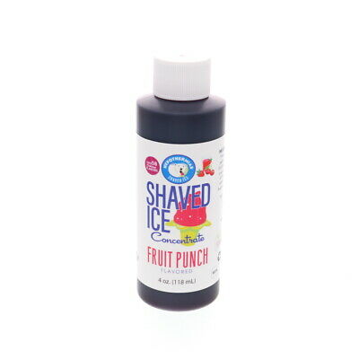 Fruit Punch Snow Cone Hawaiian Shaved Ice Unsweetened Flavor Concentrate 4 Fl Oz