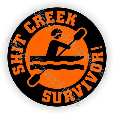 Hit Creek Survivor Funny Helmet Sticker Hard Hat Decal Label Safety Foreman