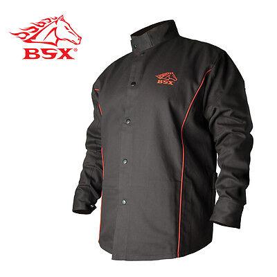 Black Stallion BSX B9C 9oz. Black/Red Cotton Welding Jacket, Flame Resistant 2XL