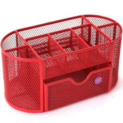Mesh Oval Desk Organizer 9 Compartments For Desk Accessories. - Color Pink