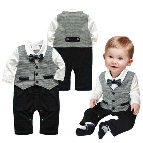 Kids Baby Boys Toddler Gentleman Suit Romper Jumpsuit Bodysuit Clothes Outfit UK