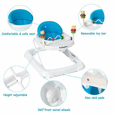 Baby Walker Adjustable Height Removable Toy Wheels Folding Portable Blue