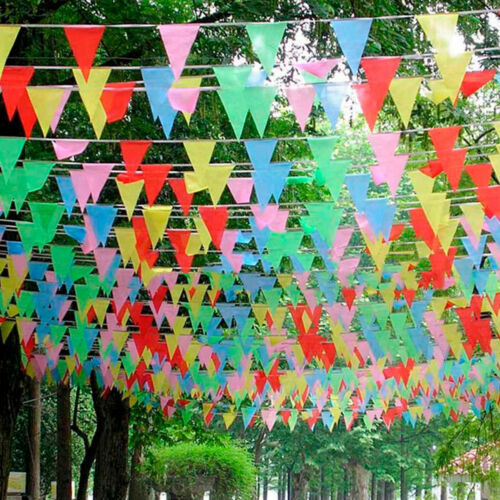 Fresh 80M Triangle Flags Bunting Banner Pennant Festival Wedding Party HE