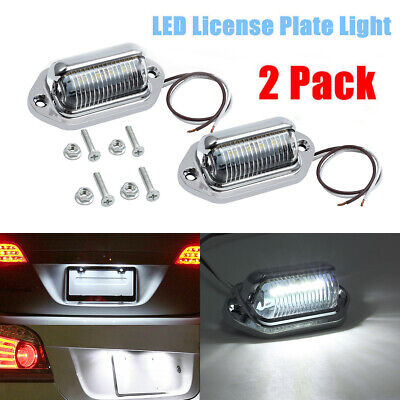 Universal Chrome 6 LED License Plate Tag Lights Lamps for Truck SUV Trailer Van ()
