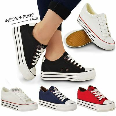 Ladies Womens Hi Top Wedge Trainers Canvas Lace Up Sneaker P