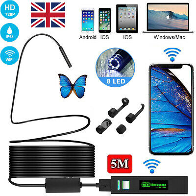 8LED 1200P WiFi Endoscope Inspection Camera for iPhone Android PC iPad IOS 5-30M