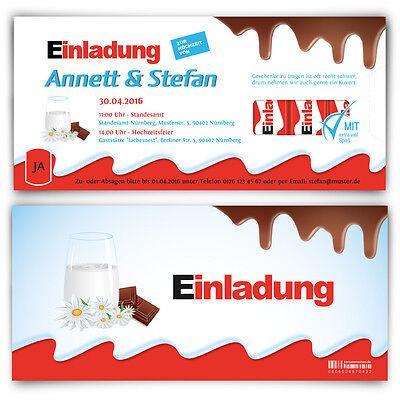 Einladungskarten zur Hochzeit Schoko Riegel Einladungen Schokolade für Kinder