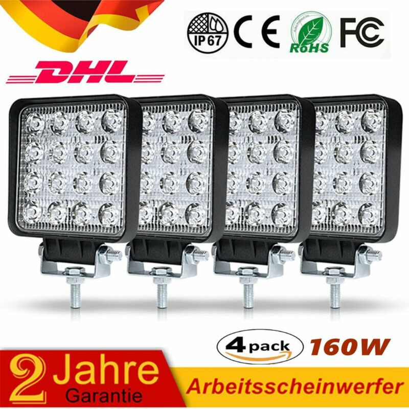 4X160W LED Arbeitsscheinwerfer Offroad Scheinwerfer JEEP Bagger SUV 12V 24V IP67