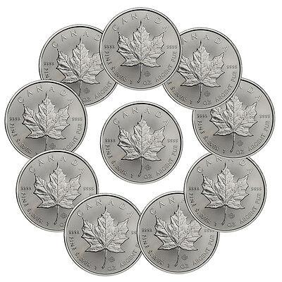 2017 Canada  5 1 Oz  Silver Maple Leaf Lot Of 10 Coins Gem Bu Sku44168
