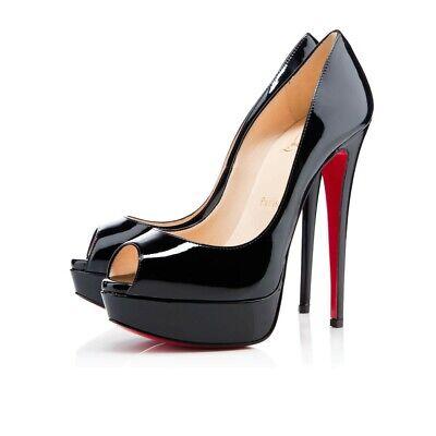 Christian Louboutin Lady Peep 150 Black Patent Platform Peep Toe Heel Pump 36.5