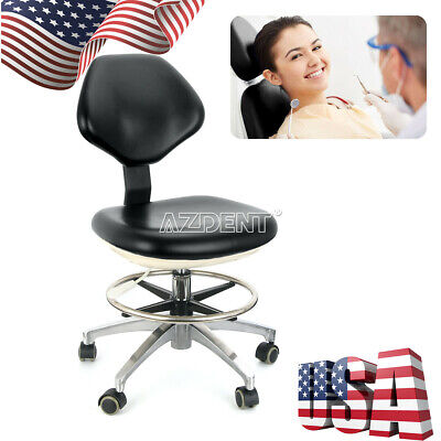 Pu Leather Dental Doctor Stool Dentist Mobile Chair Adjustable Height Black