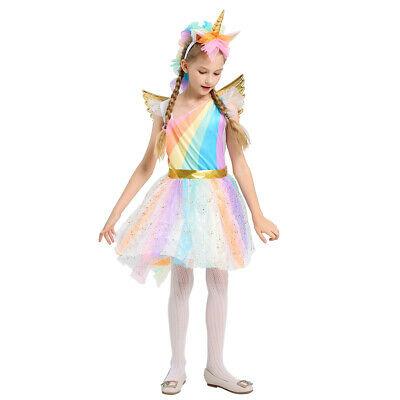 Unicorn Fancy Dress Costume (Kids Girls Halloween Unicorn Costume Fancy Dress Cosplay Party Week Suit)