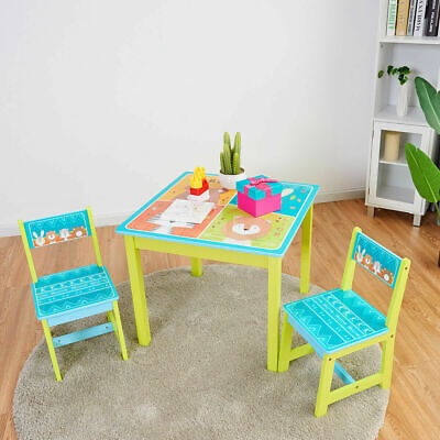 Kids Table and 2 Chairs Set For Toddler Baby Gift Desk Furniture Cartoon Pattern Desk Chairs For Kids
