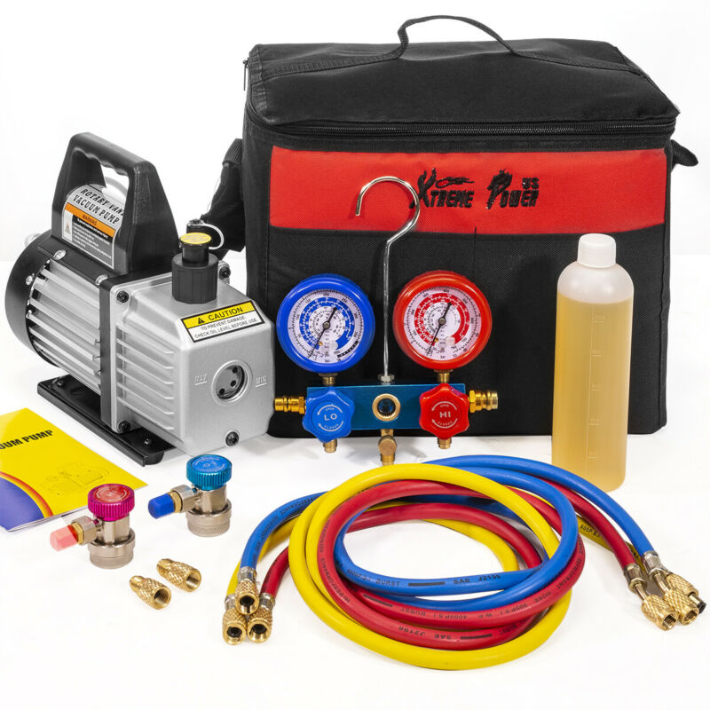 3CFM 1/4 HP Vacuum Pump HVAC Refrigeration AC Manifold Gauge Carry Tote r134 r12