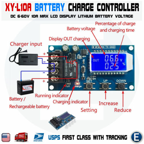 XY-L10A  Lithium Battery Charge Controller Protection Board 6-60V LCD Display US