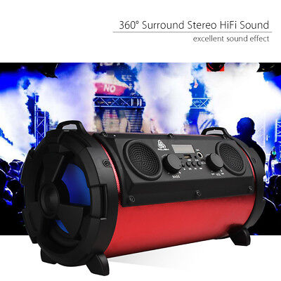 FM Portable Bluetooth Speaker Wireless Stereo Loud Super Bass Sound Aux/USB/TF