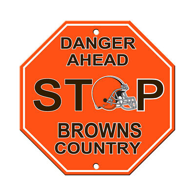 New NFL Cleveland Browns Home Office Bar Decor STOP Sign 12