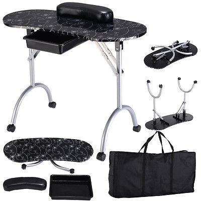 Manicure Nail Hand Table Portable Spa Salon Folding Desk W/Carry Bag Art Station