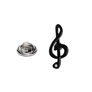 TREBLE CLEF, Black Music Note Novelty Pin Badge, Hat/ Tie Pin Lapel Pin Badge