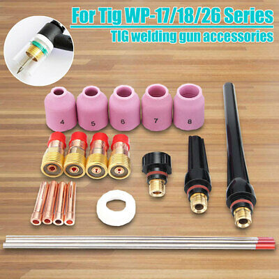 21pcs Tig Welding Torch Stubby Gas Lens Kit Tool Wt20 For Tig Wp-171826 Series