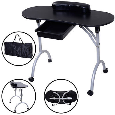 Professional Manicure Nail Hand Table Portable Salon Folding Desk W/Carry Bag