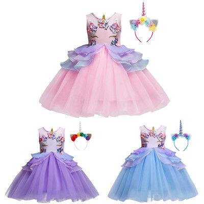 Child Unicorn Costume (Unicorn Costume Dress Headband Flower Girls Kid Wedding Birthday Party)