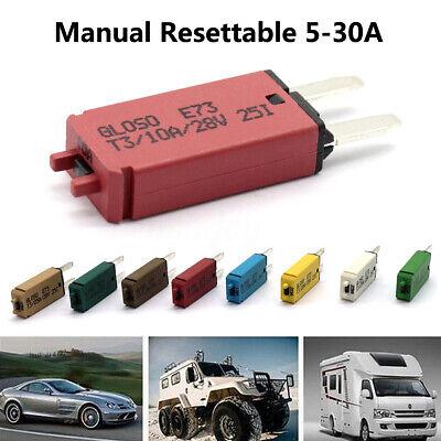 5-30A ATM Mini Circuit Breaker Blade Fuse Manul Resettable Marine Car RV 12V (Mini Circuit Breaker)