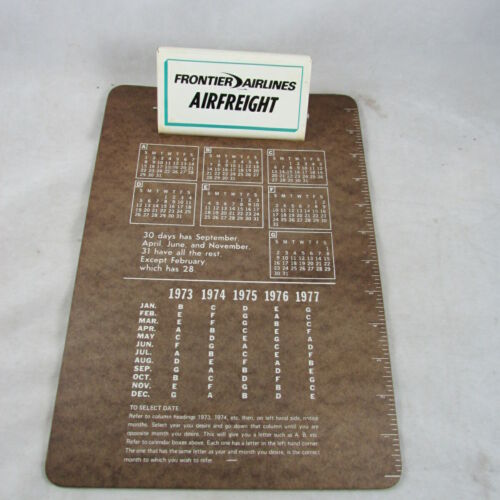 Frontier Airlines AIRFREIGHT Masonite Clip Board Vintage Mid 1970s