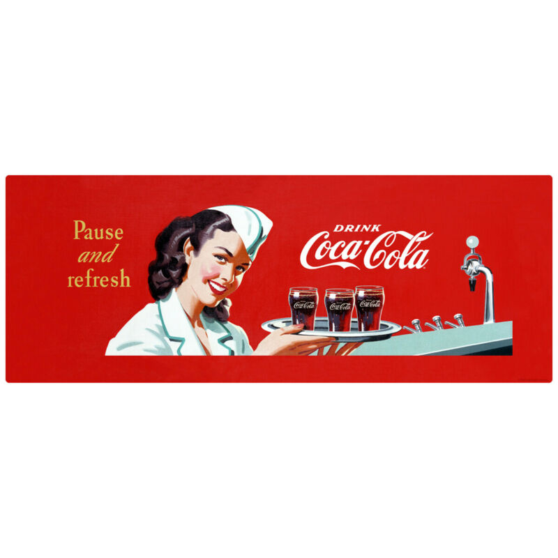 Pause and Refresh Coca-Cola 1950s Soda Fountain Wall Decal 24 x 11 Vintage Style