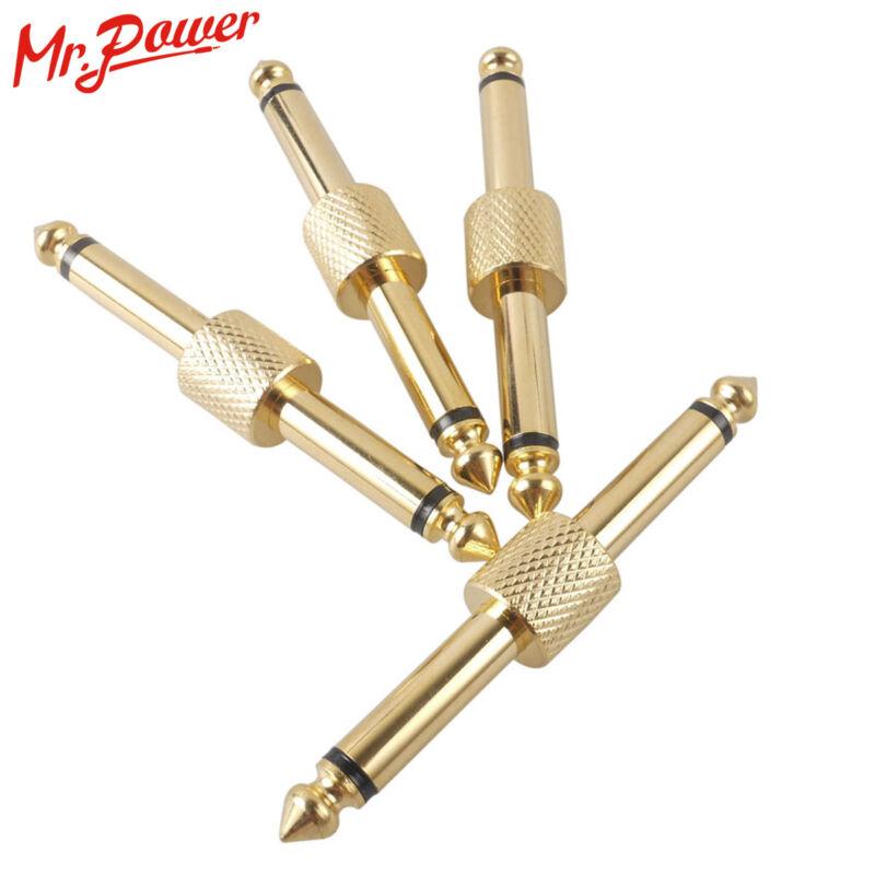 4Pcs Guitar Effects Pedal Adapter Connectors JACK-JACK Converter Plug Straight