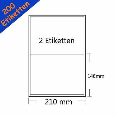 200 Etiketten DIN A5 Selbstklebend 210 x 147 mm ( A4 100 Blatt ) weiß Aufkleber