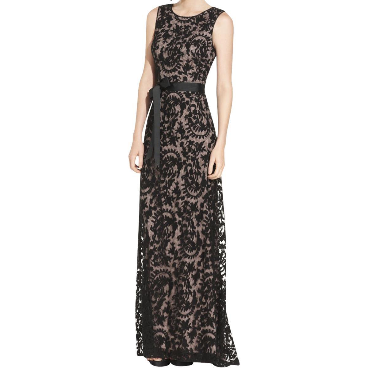 Adrianna Papell Womens Sz 12 Navy Lace Embroidered Evening Dress ...