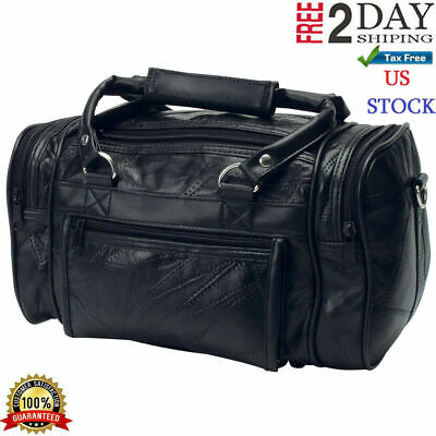 Black Leather Mens Toiletry Bag Shaving Kit Overnight Travel Duffel New Best (Best Shaving Kit Bag)
