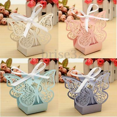10/50Pcs Paper Butterfly Cut Candy Cake Boxes Wedding Party Gifts Favor Case - Cake Favor Boxes