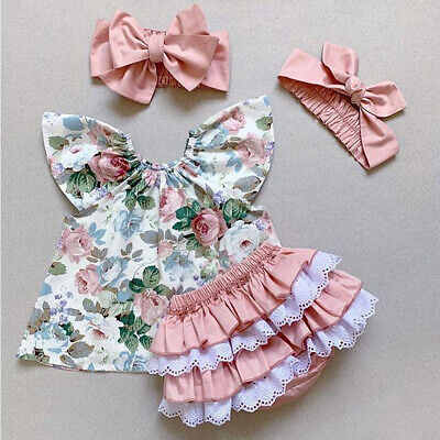 US Summer Newborn Baby Girl Clothes Floral Tops Ruffle Shorts 3Pcs Outfit Lovely - Summer Short Outfits
