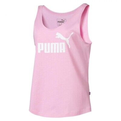 Puma Essential Logo Womens Ladies Fitness Sleeveless Tank Top Vest Pink - UK 12