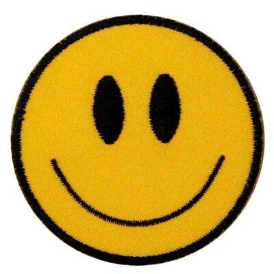 -  Smiley Face Patch Happy Smile Emoji Retro Hippie Embroidered Iron On Applique