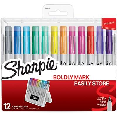 Sanford Sharpie Permanent Markers Assorted Colours & Hard Case  - Pack 12