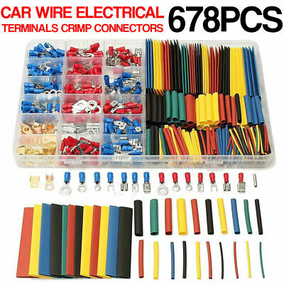 678 Pcs Car Electrical Wire Terminals Insulated Crimp Connectors Spade Set Kit