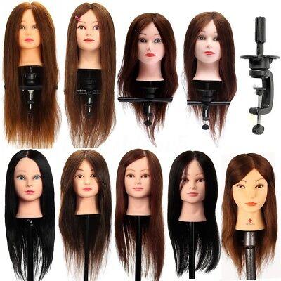 100% Veri Capelli Testina Studio Parrucchiere Training Testa Mannequin + Clamp