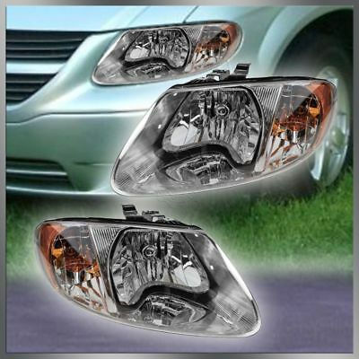 Headlights Headlamps Left  Right Pair Set of 2 for Dodge Grand Caravan Voyager