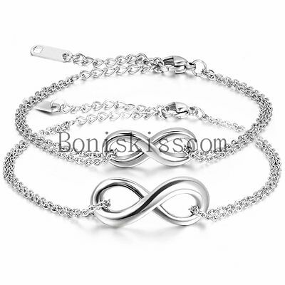 Love Infinity Charm Mens Womens Chain Bracelet Anklet Couple Valentine Gift