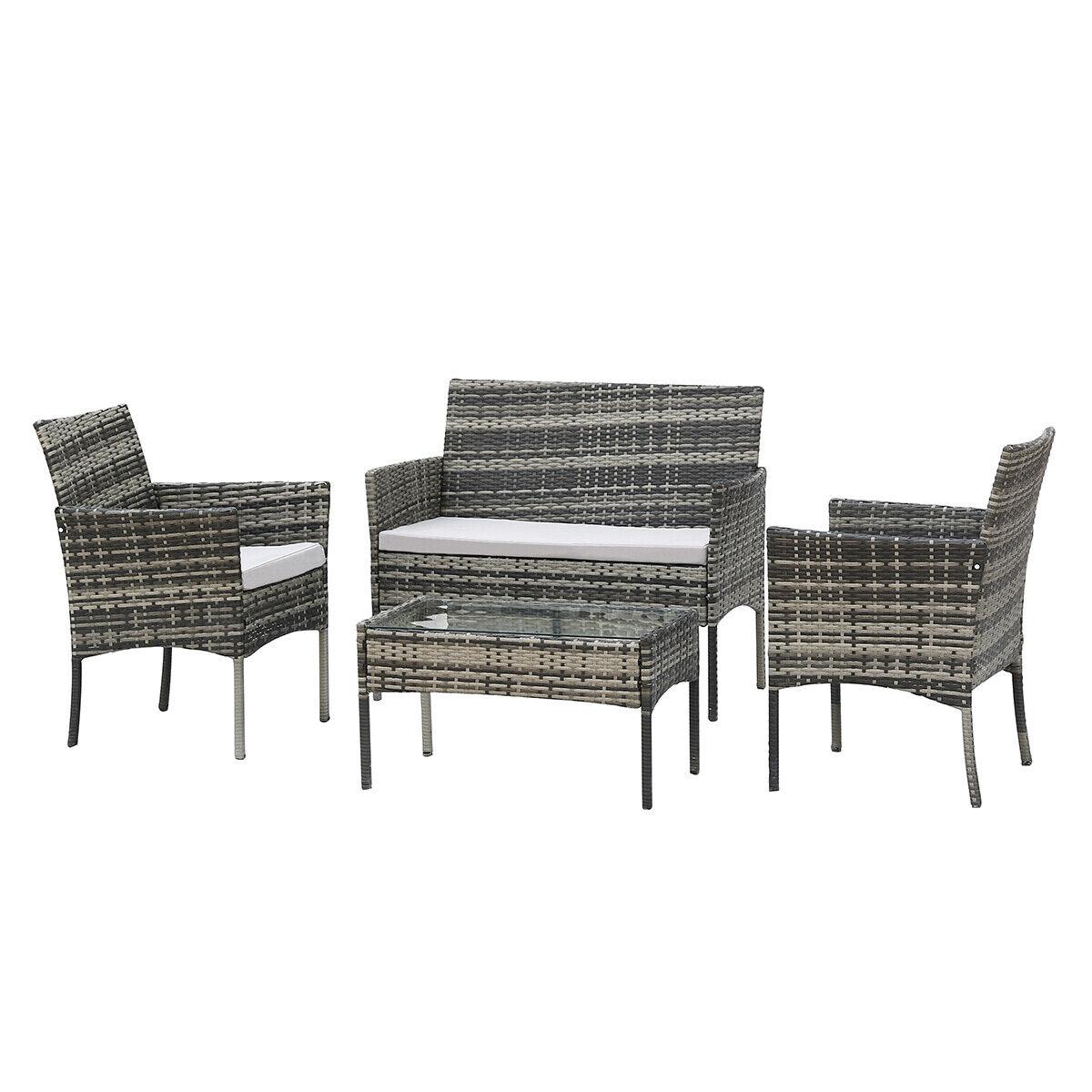Garden Furniture - Grey Rattan Outdoor Garden Furniture Set 4 Piece Chairs Sofa Table Patio Set