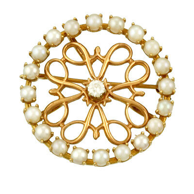 Fashionable 14K Yellow Gold Diamond and Pearl Pin CA1950s