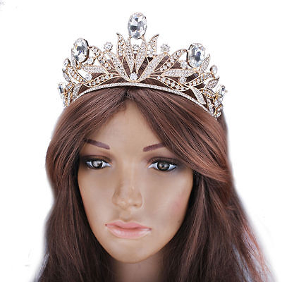 Prom Queen Princess Gold Crystal Rhinestone Tiaras Crown Chic Bridal Accessories (Prom Queen Accessories)