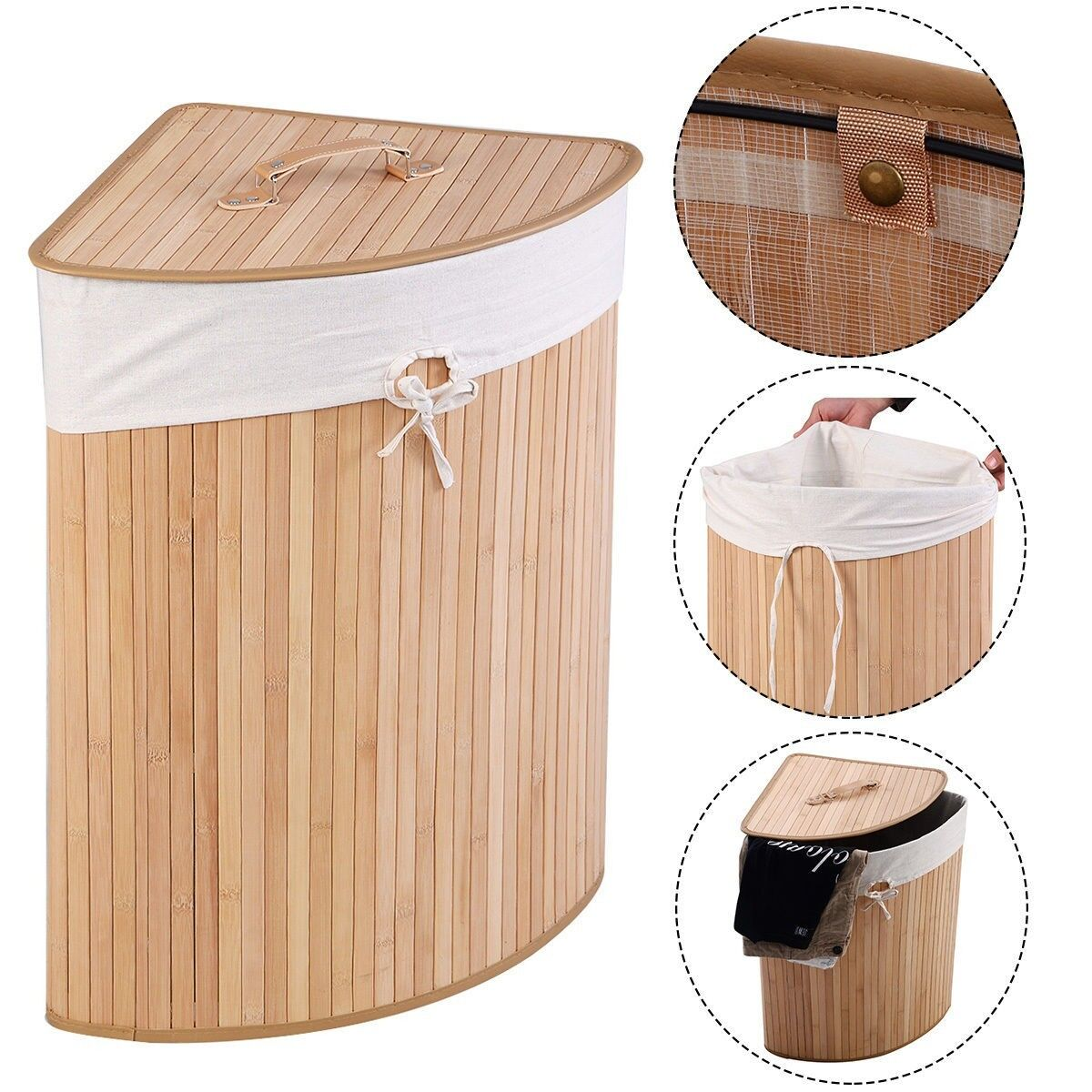 Large Bamboo Cornerized Dirty Laundry Towel Bathroom Hamper