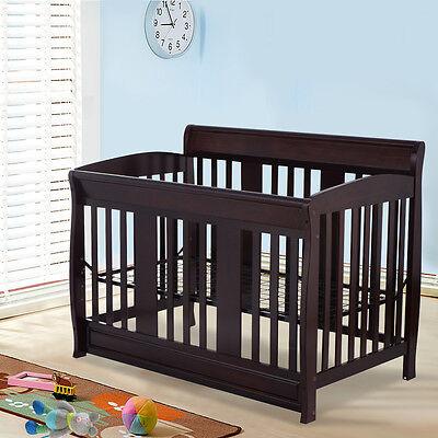 Coffee Pine Wood Baby Kids Infant Bed Convertible Crib Nurse