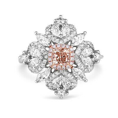 Natural Light Pink Diamond Solitaire Ring 1.58 Ct Radiant Cut 18K White Gold GIA