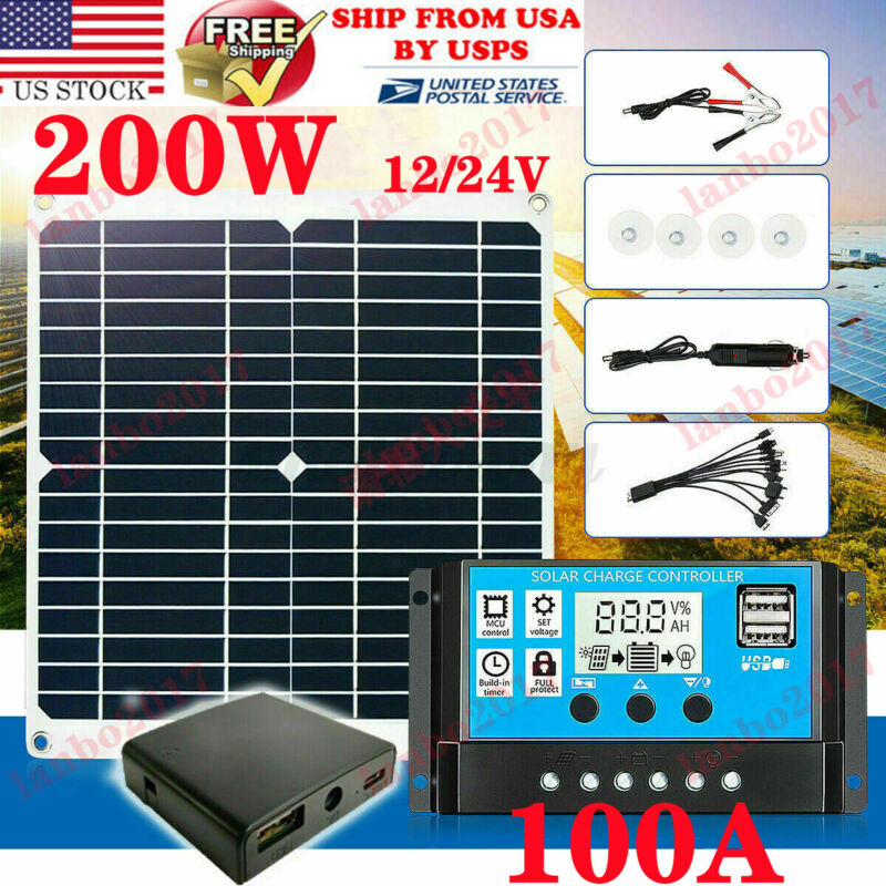 200W Solar Panel Kit 100A 12V battery Charger Controller Caravan Boat Outdoor 1#